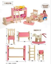 6pcs/set A little pink house furniture, Wooden kids bedroom Toy Puzzle toys gift girl doll house toy