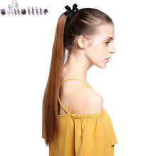 S-noilite 22 inches Straight Clip in Ponytail Hair Extensions Extension ponytails Synthetic Hairpiece Black Brown Blonde Red(China)