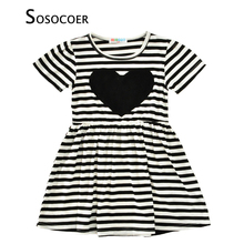 SOSOCOER Girls Dress Summer 2017 New Brand Striped Kids Dresses For Children Clothes Black Heart Toddler Baby Girl Dress Outfits(China)