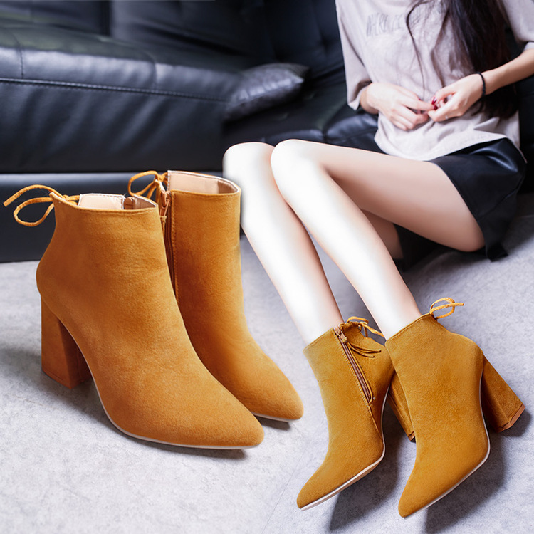 womens High Boots With Thick Pointed Shoes Side Zipper Martin Boots ankle Boots Women Scrub Square Heel Women Boots<br><br>Aliexpress