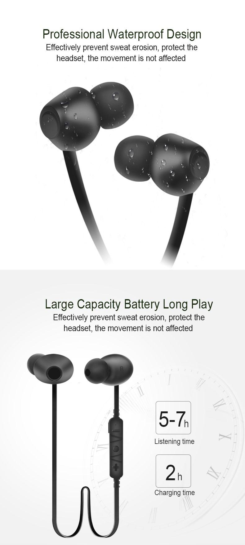 Moonliness Wireless Bluetooth Mini Earphones Sport Running Headsets HiFi Stereo Handsfree Earphone for Sweatproof Music with MIC