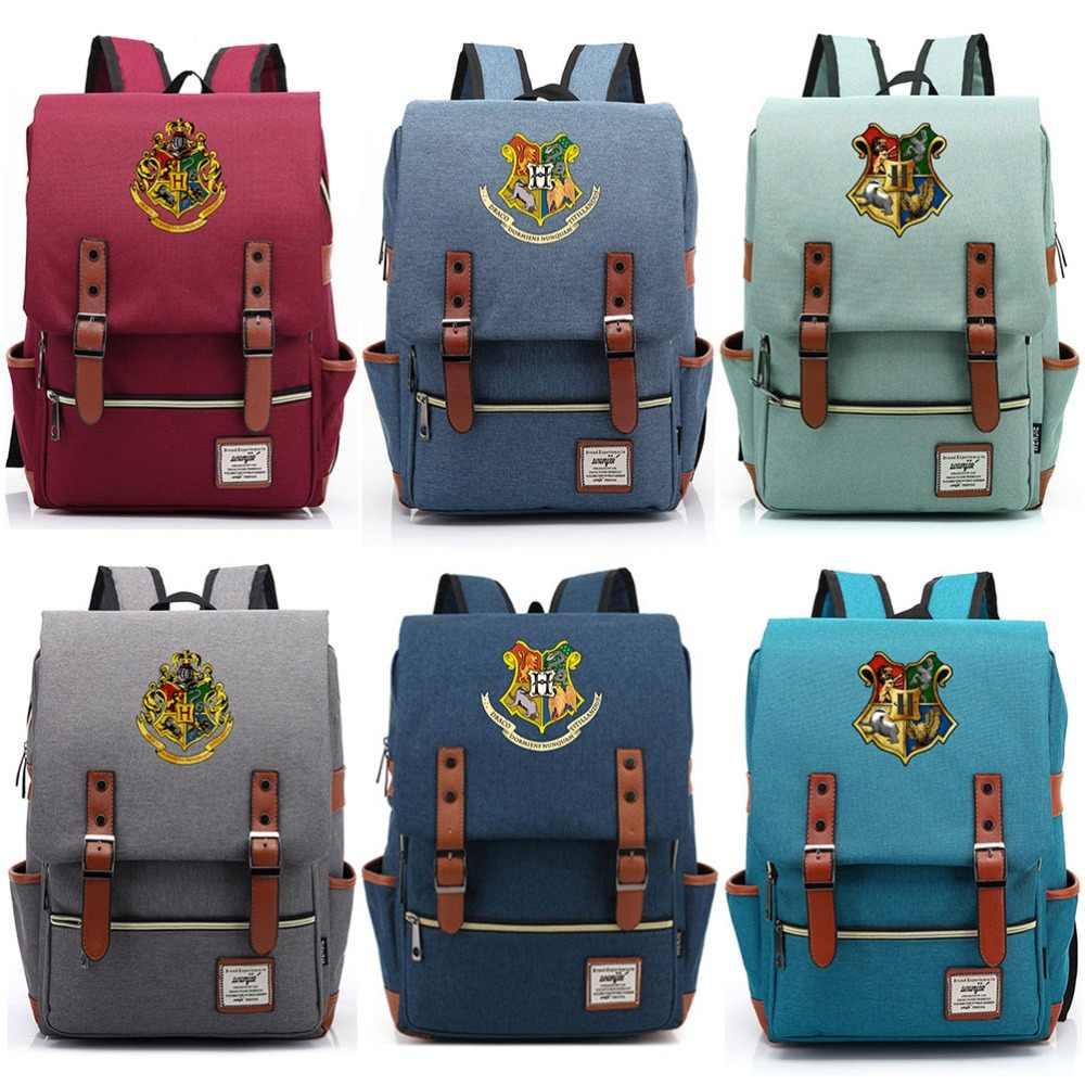New Hufflepuff Ravenclaw Slytherin Gryffindor Boy Girl Student School bag  Teenagers Schoolbags Canvas Women Bagpack Men 44ac889c7946e