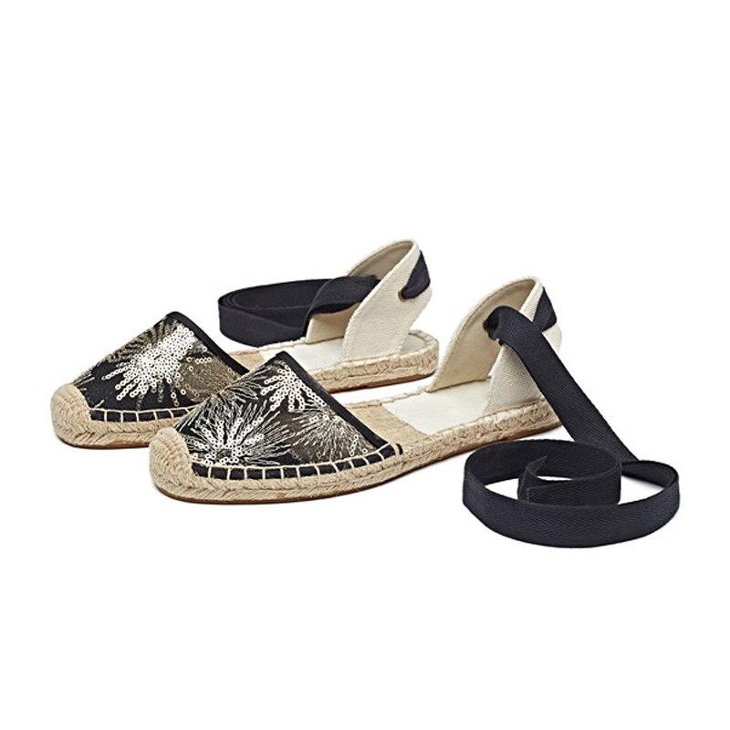 Canvas Summer Women's Espadrille Sandals Flats Ankle Strap Hemp Bottom Fisherman Women Shoes For 2018 SpringAutumn Women Loafer (4)