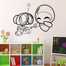 Wall-e and Eve Wall Decal Cartoons Robots Vinyl Sticker Home Decor Ideas Interior Removable Kids Room Wall Art X282(China)