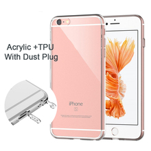 GRANDBOOM Ultra Thin Slim Hard Acrylic Soft TPU Clear Transparent With Dust Plug Back Case Cover for iPhone SE 5 5S 6 6S 7 Plus