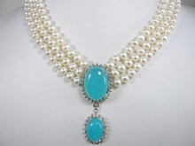 gift ! Wholesales -Jewelry Christmas Beautiful 3 rows White pearl &  blue jades  pendant necklace