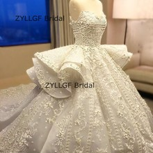 ZYLLGF Bridal Luxury Wedding Gowns 2017 Ball Gown Court Train Saudi Arabia Lace Wedding Dress Bridal Dress With Beadings RM65