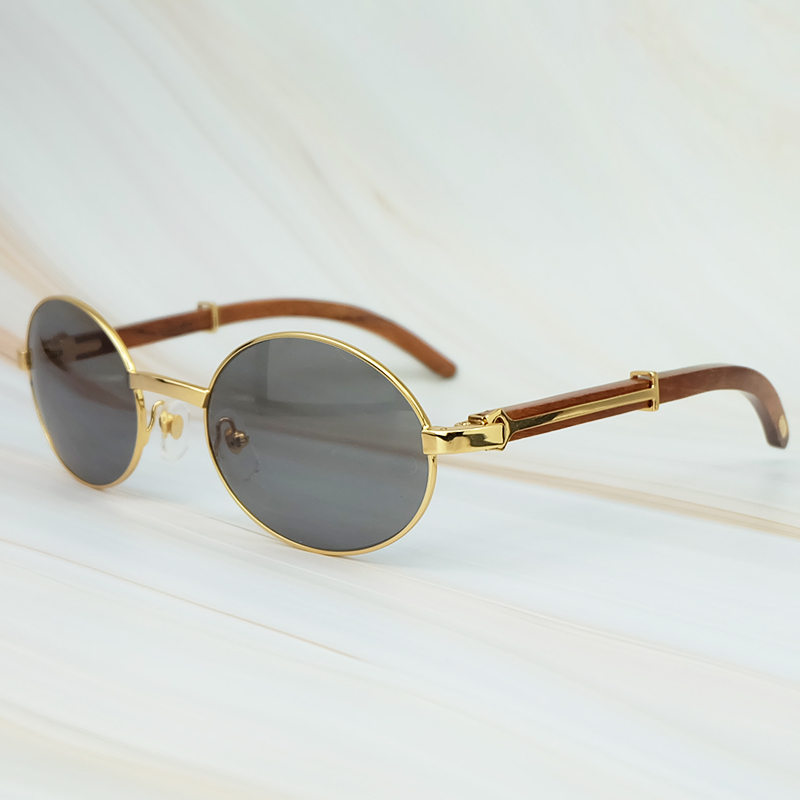 Round Metal Clasic Oval Sunglasses Full Frame Gold General Wood Glasses Men And Wen Eyewear (5)