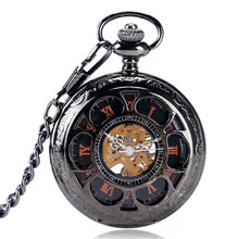 Luxury Black Mechanical Pocket Watches Sun Flowers Skeleton Engraved Hand Wind Fob Clock Men Women Unique Gift 2017