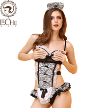 Buy Leechee Q895 Women sexy lingerie hot cosplay sexy maid exposed embroidery hollow erotic underwear lenceria porn costumes