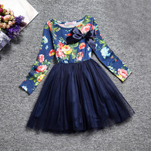 2017 Promotion Special Offer Polyester Knee-length Bow Ball Gown Children In The Spring Big Girls Dress Long Sleeved Princess