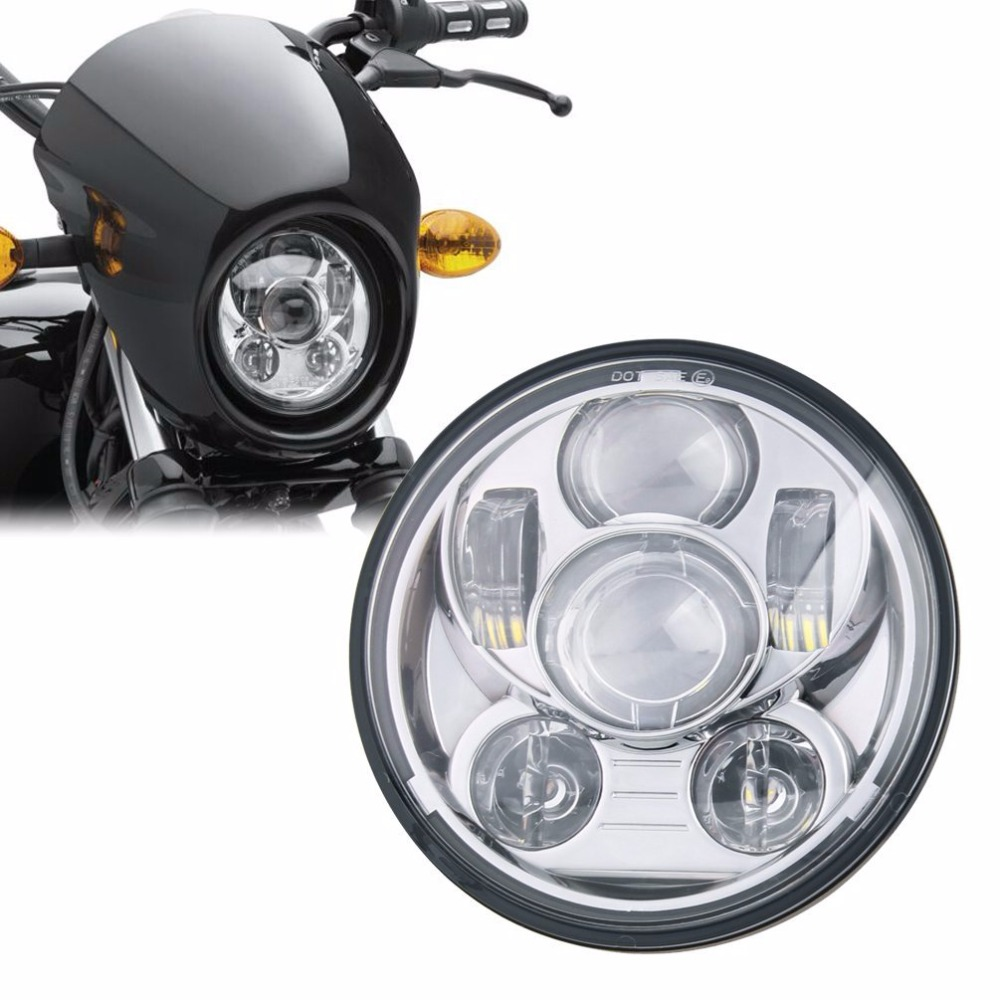 1pcs 5 3/4 5.75 Inch Daymaker Projector LED Headlight for Harley Daviddson Motorcycles Headlamp 45W Chrome Dyna 883 XL1200C XL<br>