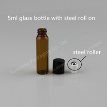 30pcs 5ml amber roll on roller bottles for essential oils roll-on refillable perfume bottle deodorant containers with black lid
