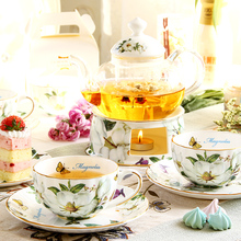 Bone China Flower Tea Teaset Heat-resistant Glass Teapot with Heatable Base European-Style Ceramic Coffee Ware Cup & Saucer Set