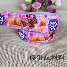 1'' (25mm)new Wide Winnie The Pooh and Tigger Ribbons Accessories Ribbon Clothing Materials 5 Yards Wedding Party Decoration(China)