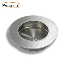 "Probrico Round Recessed Sliding Cabinet Door Handlles MH005SS65 Stainless Steel 65mm 2.6"" Kitchen Furniture Finger Pull(China)"