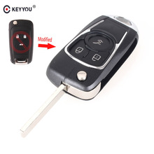 KEYYOU 3 Buttons Modified Flip Folding Remote car Key Shell Keyless Entry Case For Chevrolet Cruze For Buick Uncut HU100 Blade(China)