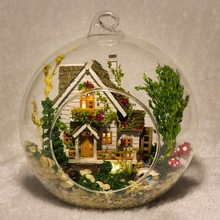 2016 The Most Creative DIY Doll House Miniatura Mini Glass Ball Model Building Kits Wooden Miniature Doll House Toy Gift(China)