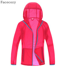 Facecozy Female Outdoor Summer Camping Jacket Women Solid Quick Dry Hooded Fishing Coat Zipper Pockets Anti-UV Thin Jackets