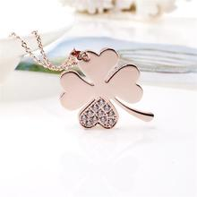 Brand New Rose Gold Color Lucky Four Leaf Clover  Pendant Chain Necklace for Women Fashion Crystal Inlaied Flower Jewelry