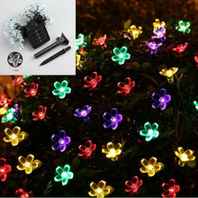 Waterproof 7M 50 LED Cherry Blossom Flower Solar Fairy String Lights Wedding Christmas Trees Festival Garden Outdoor Decoration