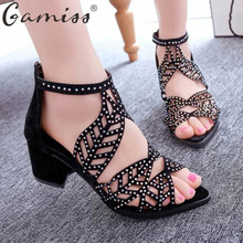 Gamiss Vintage Summer Style Women Shoes Women's Sandals Platform Wedge High Heels Rhinestones Bohemian Beach Shoes Flip Flops