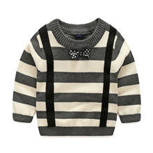 free shipping 2017 autumn winter boys cotton stripe coat pullovers baby boys children's sweater baby boy clothes kids clothes(China)