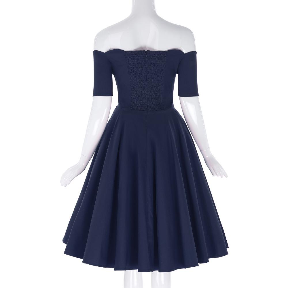 Belle Poque 17 Women Dress Robe Vintage Off Shoulder Black Summer Dress Jurken 1950s 60s Retro Rockabilly Swing Party Dresses 25