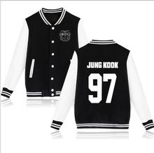 New 2017 Boys BTS Kpop Bangtan Baseball Uniform V Suga Rap Monster Jungkook Jhope Jin Jimin Jacket High Quality Hoody Sweatshirt