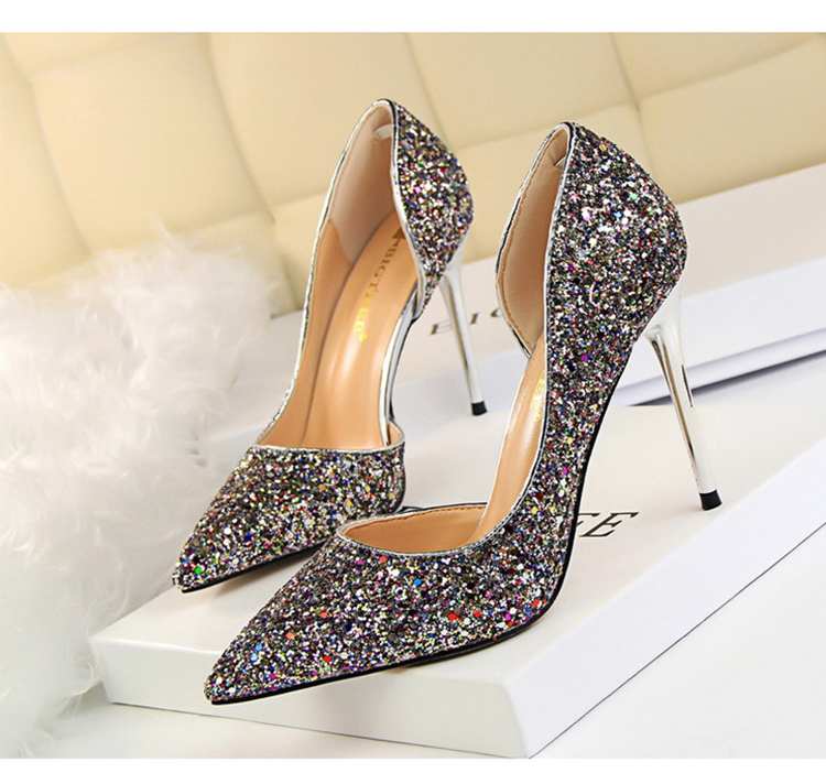 Women Pumps Sexy Glisten Women Shoes Wedding Party Dress Heels Women Hollow Shallow Mouth High Heels Stiletto 868-8 17