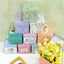 10pcs/lot Pastorable Floral Print Tin Boxes Candy Cookies Storage Box Sundries Organizer Container