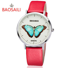 BAOSAILI Top Branded Butterfly Long lasting Battery Water Resistant Design Gold Plating Case Series Women Quartz Watch BS1017
