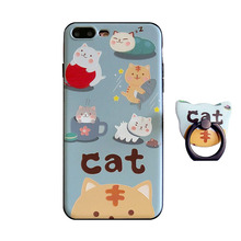 Lovely 3D relief lazy cat tpu+pc hard phone Case For iphone 7 plus 5.5inch cartoon back cover