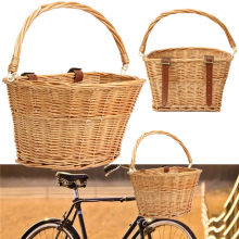 35x26x22cm Wicker Bicycle Basket with Brown Straps Strong Lightweight Cycling Basket Ideal for Transporting Shopping(China)