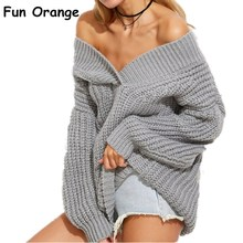 Fun Orange Winter Warm V Neck Knitted Sweater Jumper Women Thick Long Sleeve Pollover Femme Sexy Off Shoulder Black Sweaters(China)