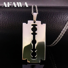 Cool Stainless Steel Razor Blades Pendant Necklaces Men Jewelry Steel Male Shaver Shape Necklaces & Pendants Free Chain N3210(China)