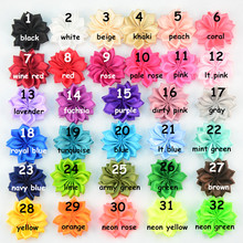 32pcs/lot 32 Color U Pick 4.5cm Handmade Petite Satin Fabric Flower Unfinished DIY Craft Hair Accessories TH218