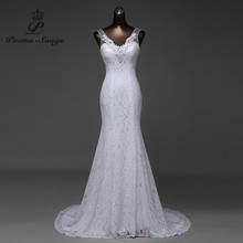 Free shipping Custom beautiful lace flowers mermaid Wedding Dresses vestidos de noiva robe de mariage ball gown Bridal gown(China)