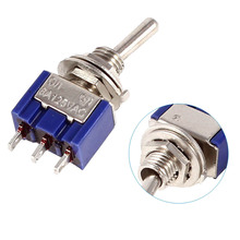 NEW Blue SPDT Red 3 Pin ON-ON Mini Toggle Switch AC 6A/125V VE519 P0.4(China)