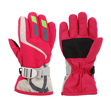 Child Boys/Girls Winter Warm Waterproof Windproof Snow Snowboard Ski Sports Gloves breathable Adjustable Ski Strap Skiing Gloves(China)
