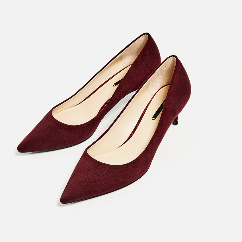 Fall Fashion High Quality Shoes Women Brand Pumps 2016 Za Office Ladies Medium Spiked Heel Pumps Pointed Toe High Heels Shoes<br><br>Aliexpress