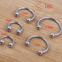 Wholesales 100pcs/lot Mix 5 Size Stainless Steel Hot Sale Nose Body Jewelry Nose Ring Horseshoe Piercing(China)
