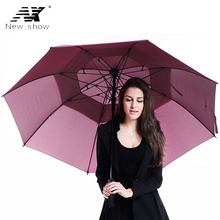 NX umbrella rain women long handle large double layer umbrella men super strongs windproof Outdoor golf umbrellas corporation(China)