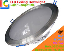 Solar Compatible 8in.  18W Ultra Bright LED Ceiling Downlight 12V 24V High Power Recessed Ceiling lamp CE for Home lighting