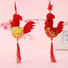 1Pc Cute China Wind 8cm Little Chicken Pendant Plush Rooster Cock Small Dolls Kids Stuffed Toy New Year Wedding Decoration Gifts