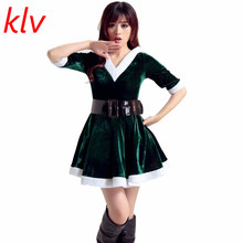 KLVFashion Trendy Adult Women Winter Warm Santa Costume Adult Mrs Miss Claus Sexy V-Neck Outfit Christmas Fancy Dress Wear Green
