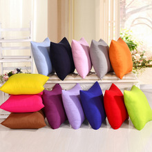 New Lovely Pure Color Series Cushion Cover Colorful Solid Color Cotton Linen Cushion Cover Pillow Case Home Decor #228665