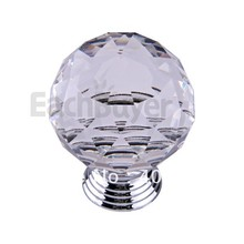 Clear Round Crystal Glass Cabinet Drawer Door Pull Knobs Handles 40mm(China)