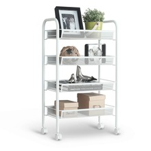 Langria 4-Tier Metal Mesh Rolling Cart Trolley Storage Shelving Rack for Kitchen Bedroom Bathroom Washroom Laundry