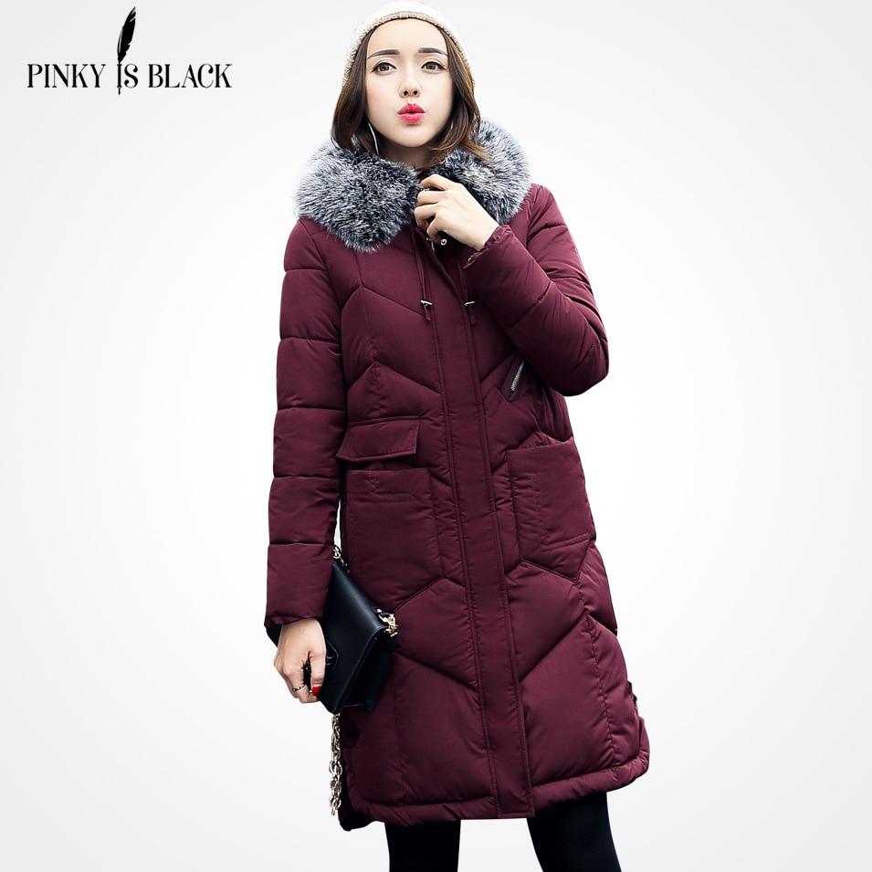 Pinky Is Black 2017 New Winter Jacket Women Cotton-padded Parkas Jackets Large Fur Collar Female Long Winter Coat Women OutwearÎäåæäà è àêñåññóàðû<br><br>
